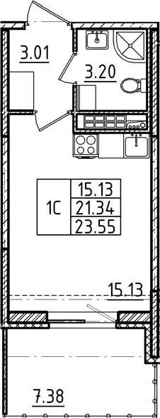 Студия, 23.55 м²