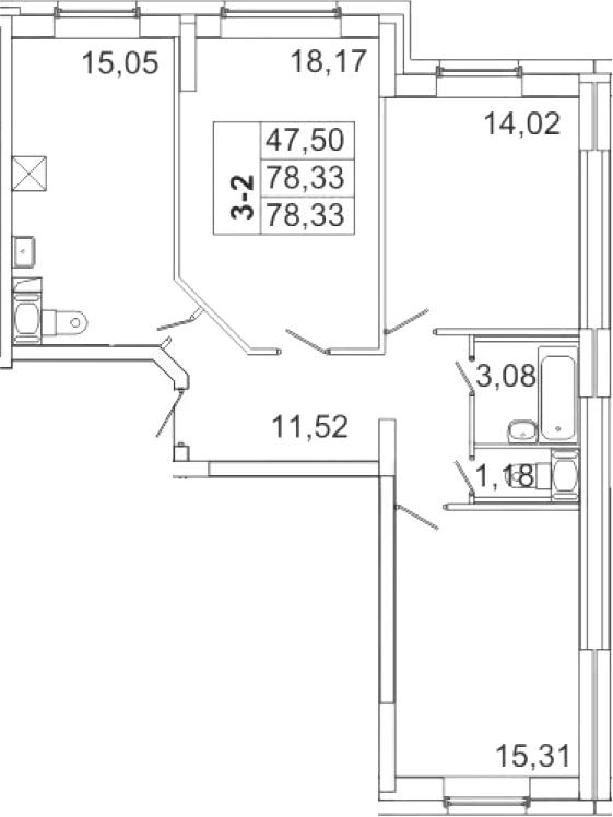 4-к.кв (евро), 78.33 м²