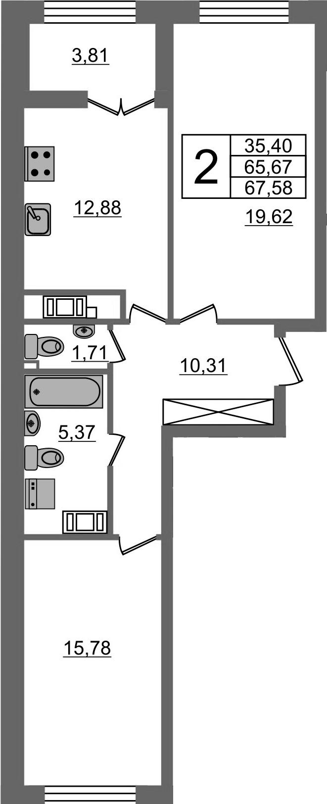 2-к.кв, 69.48 м²