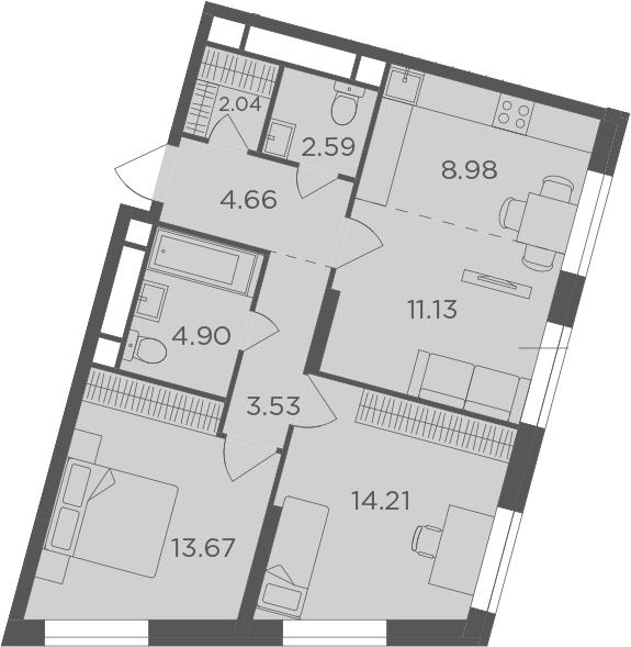 3Е-комнатная, 65.71 м²– 2