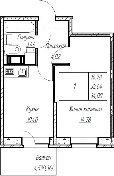 1-к.кв, 34 м², от 6 этажа