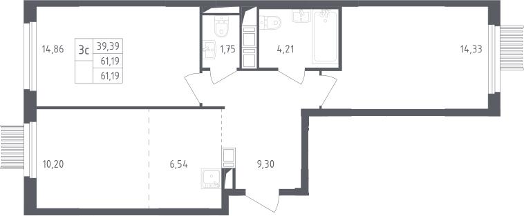 3Е-комнатная, 61.19 м²– 2