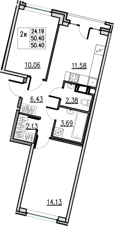 2-комнатная, 50.4 м²– 2