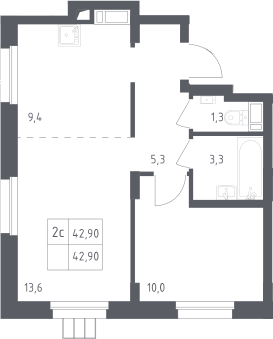 2Е-комнатная, 42.9 м²– 2