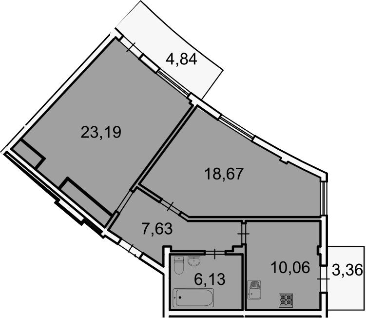 2-к.кв, 68.1 м², 2 этаж