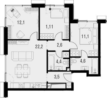 4Е-к.кв, 71.6 м², от 17 этажа