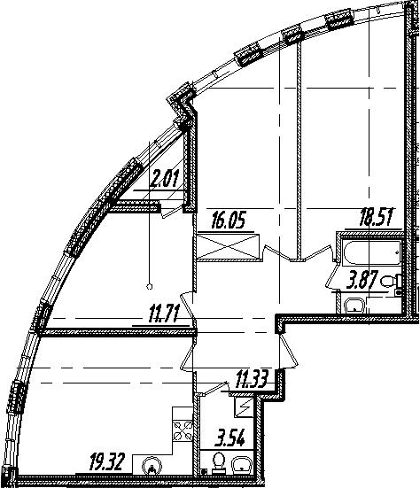 4Е-комнатная, 85.34 м²– 2