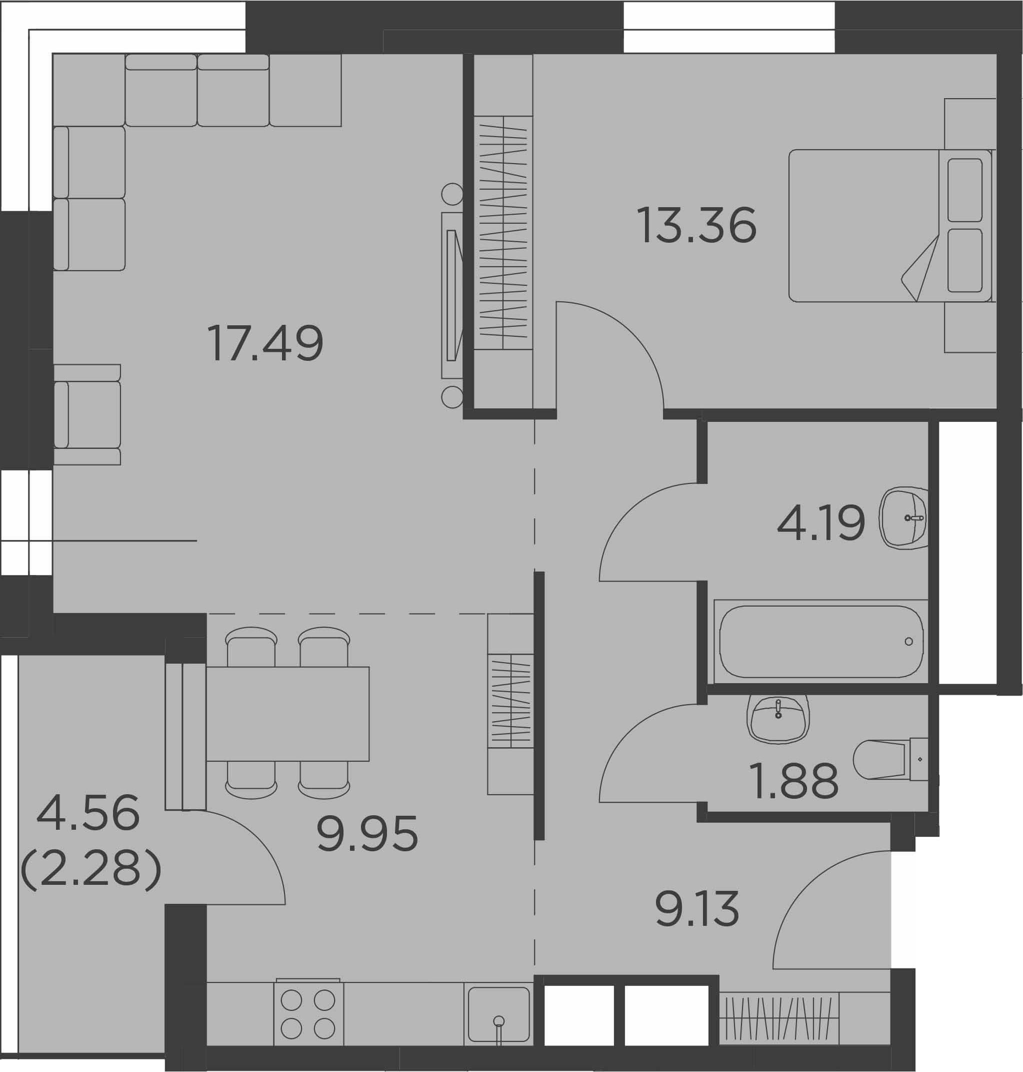 2-к.кв, 58.28 м²