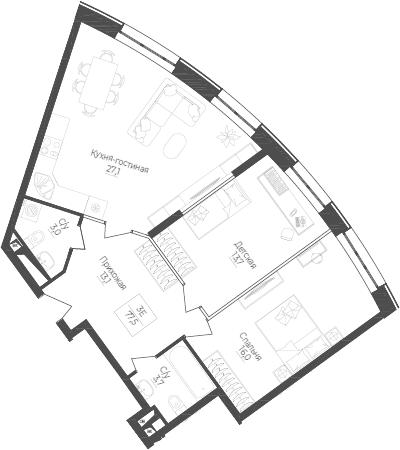 3Е-комнатная, 77.5 м²– 2