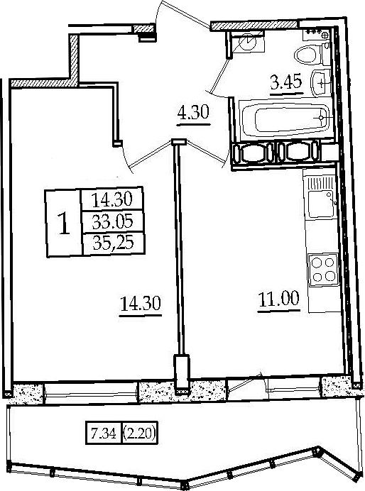 1-комнатная, 35.25 м²– 2