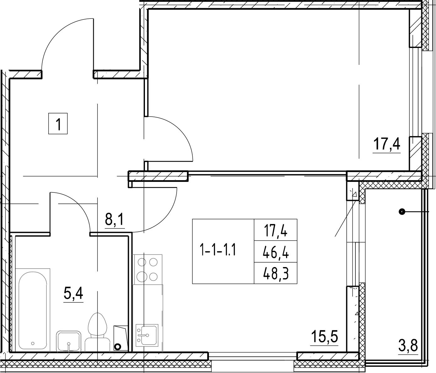 2Е-к.кв, 48.3 м², 1 этаж