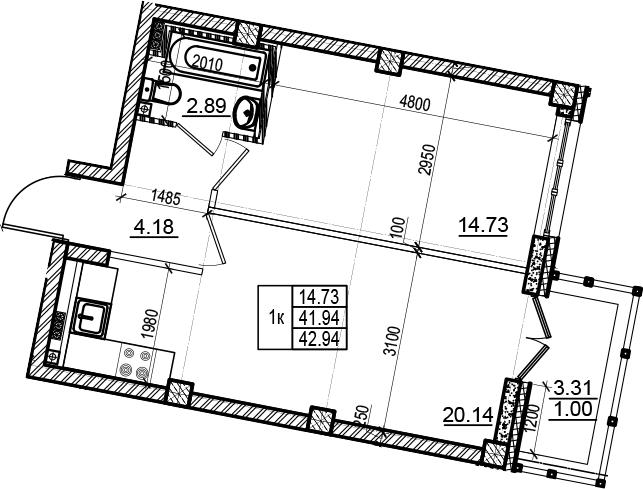 2Е-комнатная, 42.94 м²– 2
