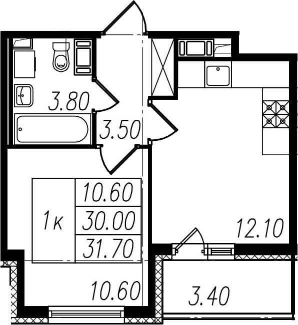 2Е-комнатная, 30 м²– 2