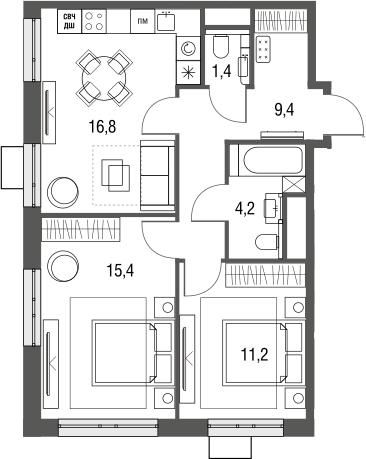 3Е-к.кв, 58.4 м², 2 этаж