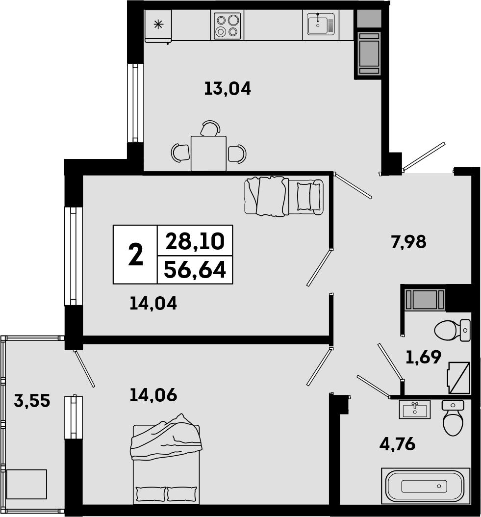 2-комнатная, 56.64 м²– 2