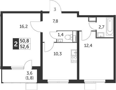 2-комнатная, 52.6 м²– 2