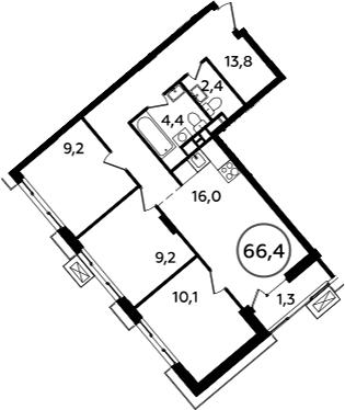 4-к.кв (евро), 67.7 м²