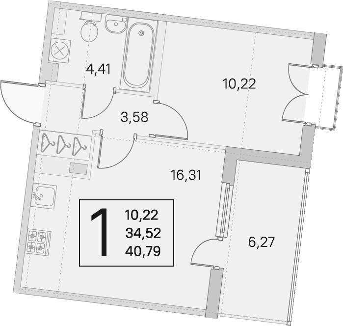 2Е-комнатная квартира, 34.52 м², 4 этаж – Планировка