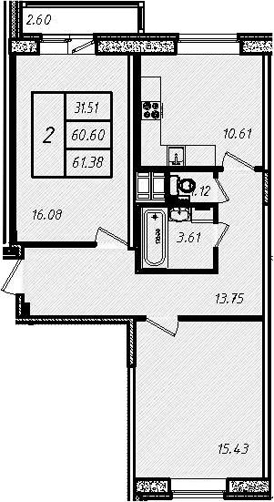 2-к.кв, 60.14 м², 8 этаж