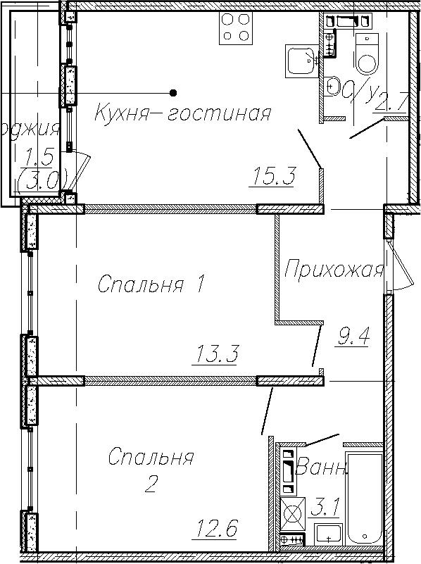 3Е-к.кв, 56.4 м², 3 этаж