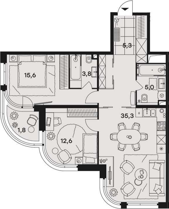 3Е-к.кв, 79.4 м²