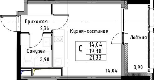 Студия, 21.33 м², 5 этаж