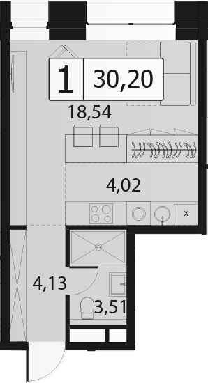 Студия, 30.2 м²