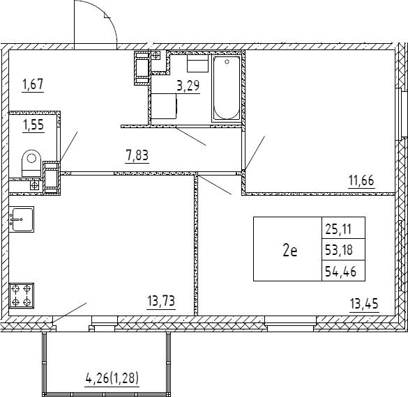 3Е-к.кв, 54.46 м², от 3 этажа