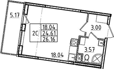 Студия, 24.61 м²