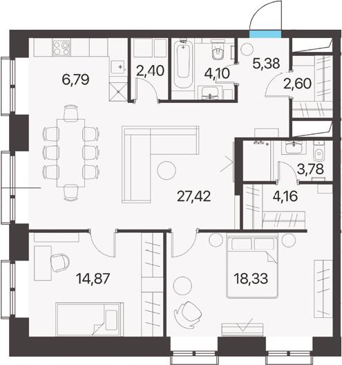 3Е-к.кв, 89.83 м², 8 этаж