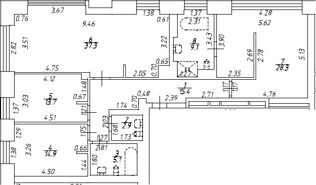 4Е-к.кв, 126.7 м², 8 этаж