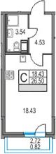 Студия, 26.5 м², 21 этаж