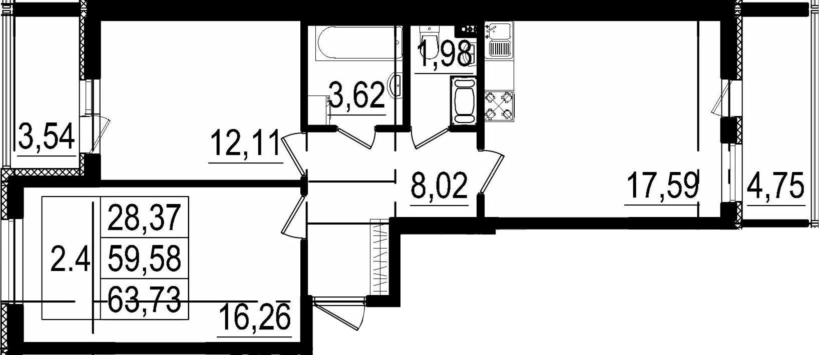 3Е-комнатная, 59.58 м²– 2