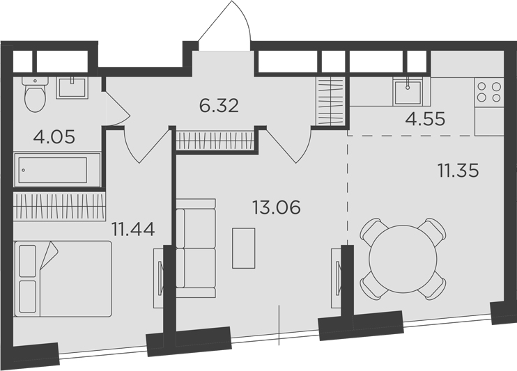 3Е-к.кв, 50.77 м²