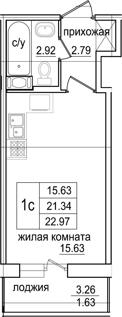 Студия, 22.97 м², 8 этаж