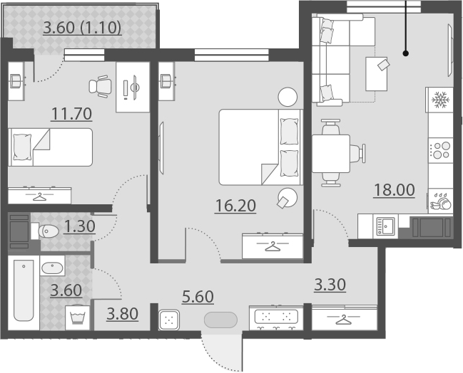 3-к.кв (евро), 67.17 м²