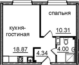 2Е-к.кв, 37.52 м², 14 этаж