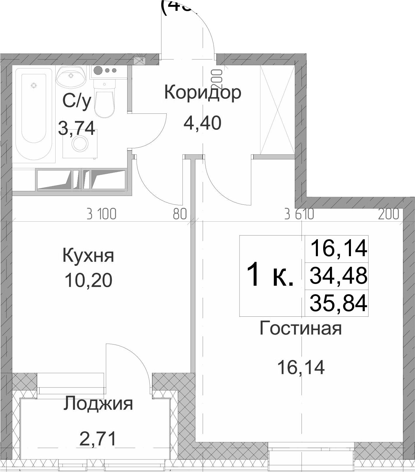 1-к.кв, 35.84 м²
