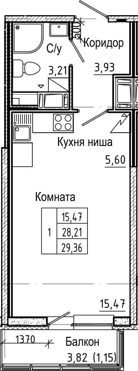 Студия, 29.36 м²– 2
