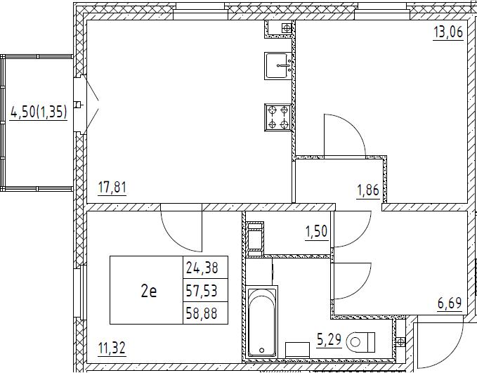 3Е-к.кв, 58.88 м², от 8 этажа