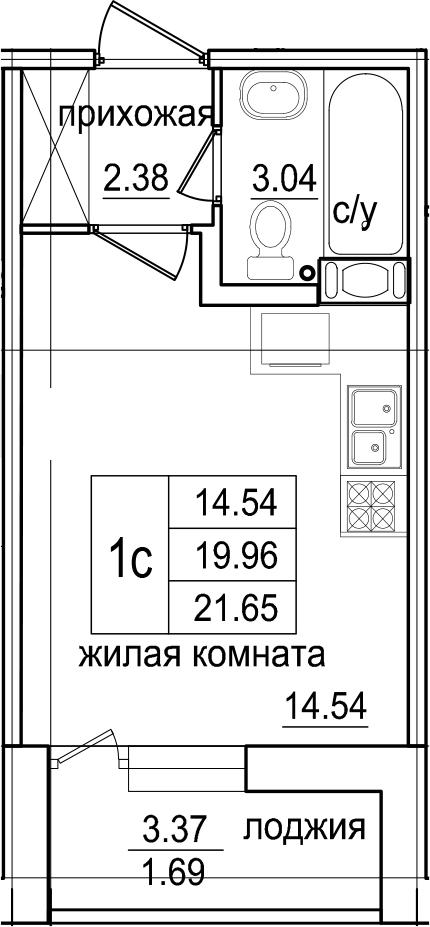 Студия, 23.34 м²