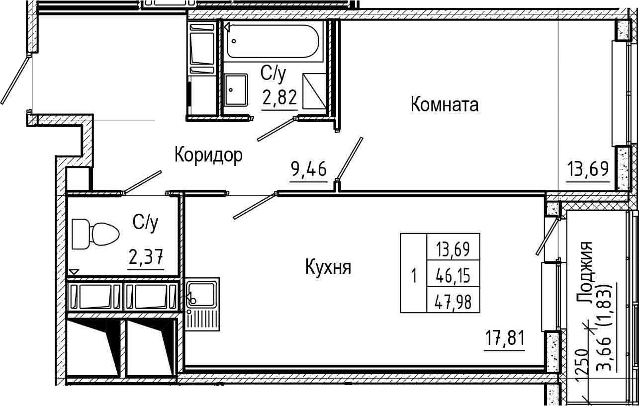 2Е-комнатная, 47.98 м²– 2
