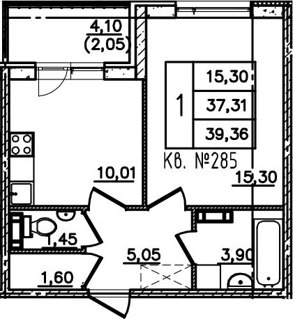1-комнатная, 39.36 м²– 2
