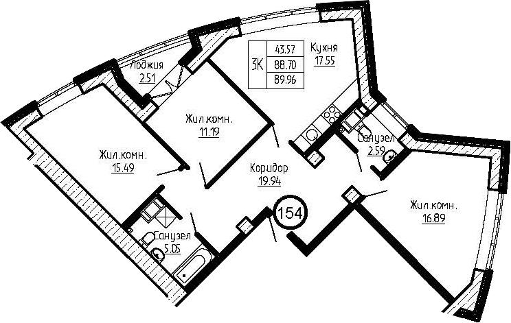 4-к.кв (евро), 91.22 м²