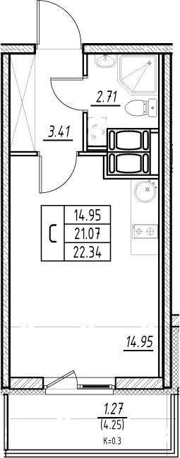Студия, 21.07 м², 21 этаж