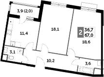 2-к.кв, 67 м²