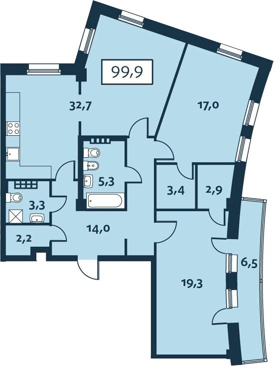 3-к.кв (евро), 106.44 м²