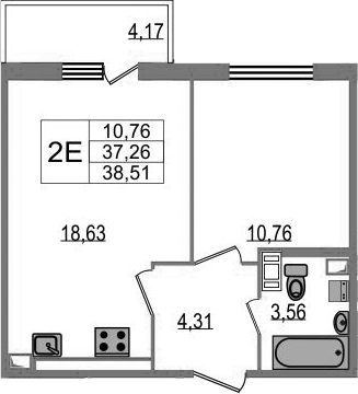 2-к.кв (евро), 41.43 м²