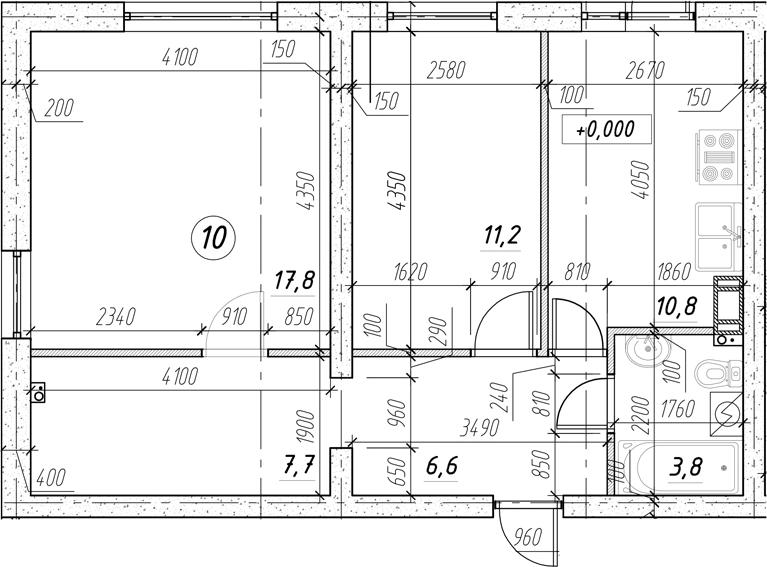 2-комнатная, 57.9 м²– 2