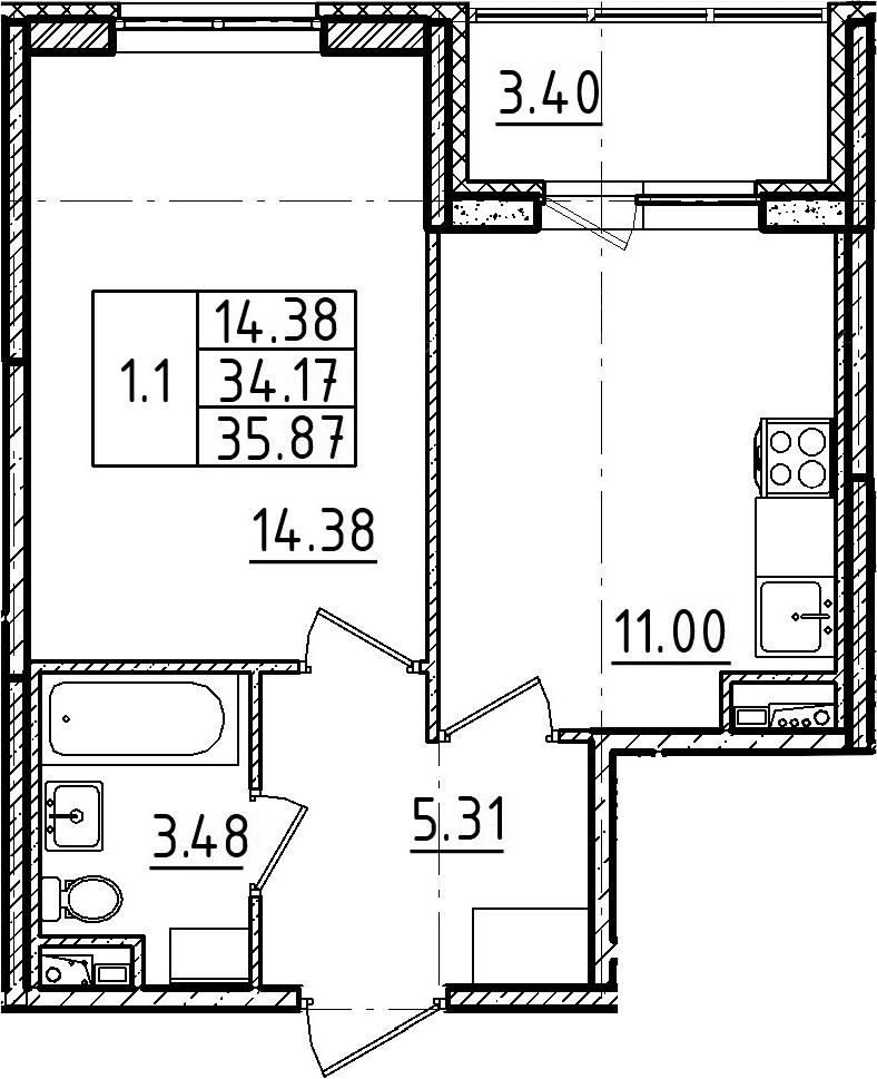 1-к.кв, 35.87 м², 2 этаж